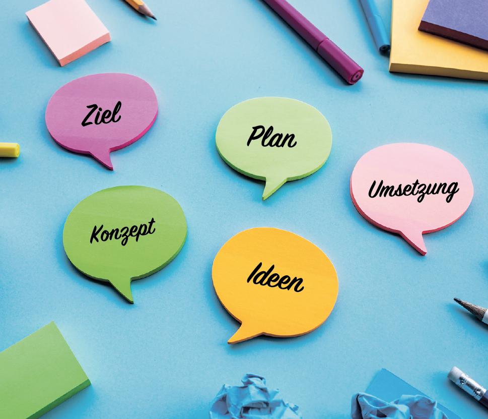 Post-its in Sprechblasenform mit folgenden Themen: Ziel, Plan, Konzept, Ideen, Umsetzung