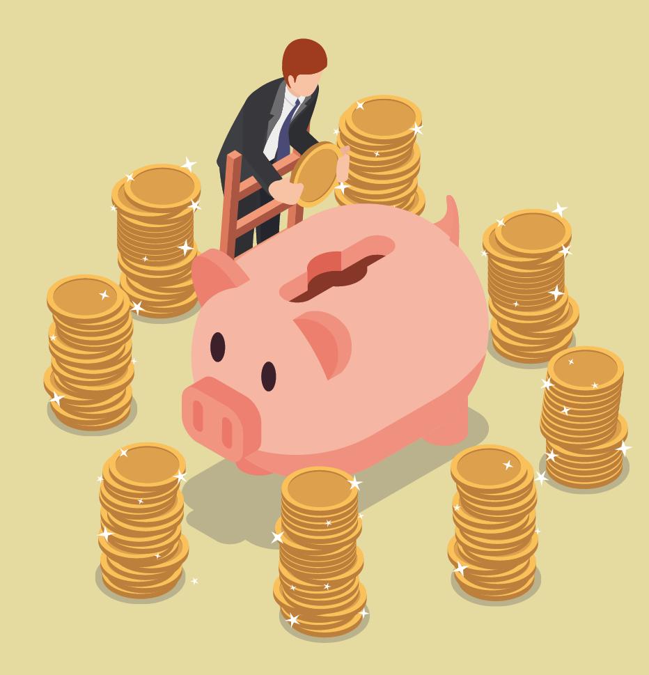Grafik: Mann wirft Münzen in überdimensionales Sparschwein