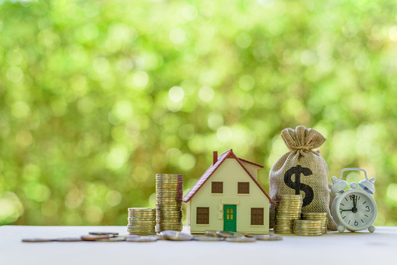 Haus umgeben von Geld